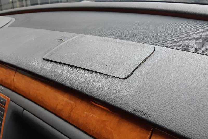 Photo gallery, repair of dashboard surface after airbag deployment