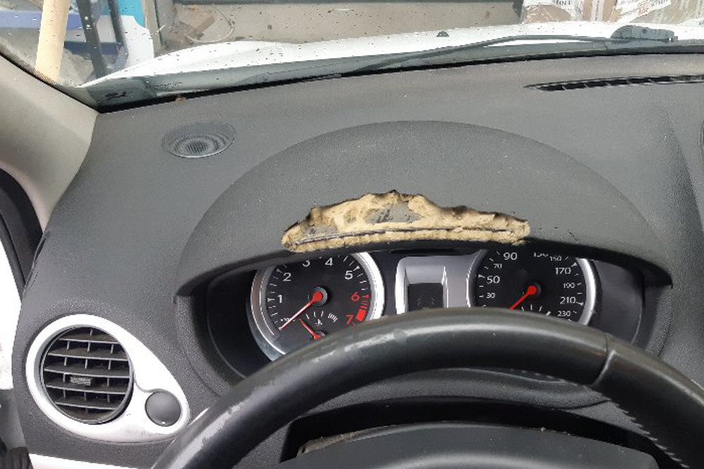 Repair of chewed dashboard from dog